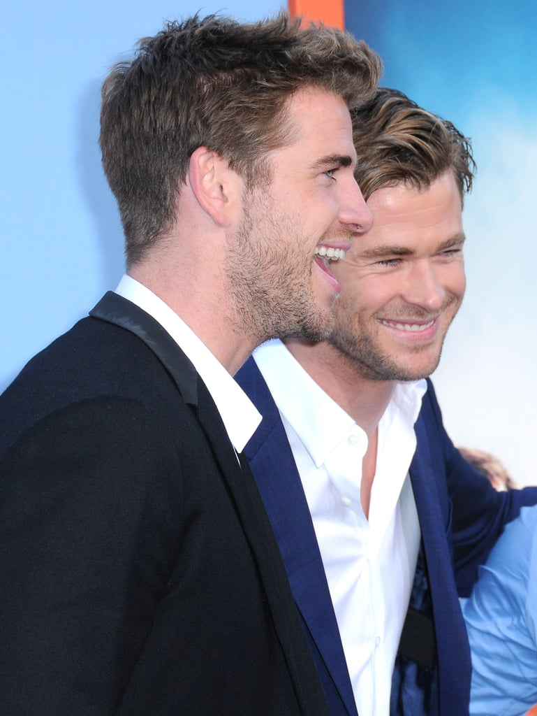 Chris and Liam flashed big smiles at the July 2015 premiere of Vacation in LA.