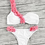 Shein Contrast Flower Embellished One Shoulder Bikini Set