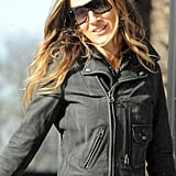 SJP wore a black motorcycle jacket.