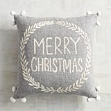 Pom-Pom Merry Christmas Pillow