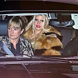 Jessica Simpson wore a furry coat.