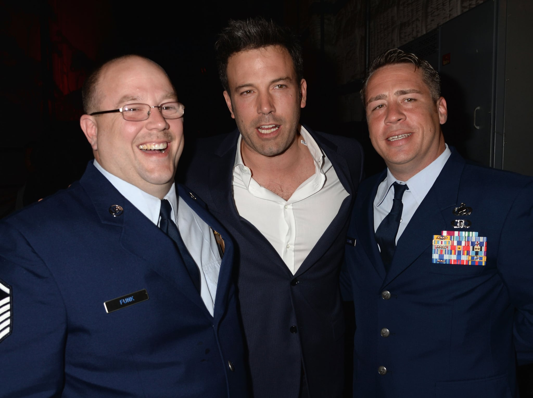 Ben Affleck posed with servicemen backstage.