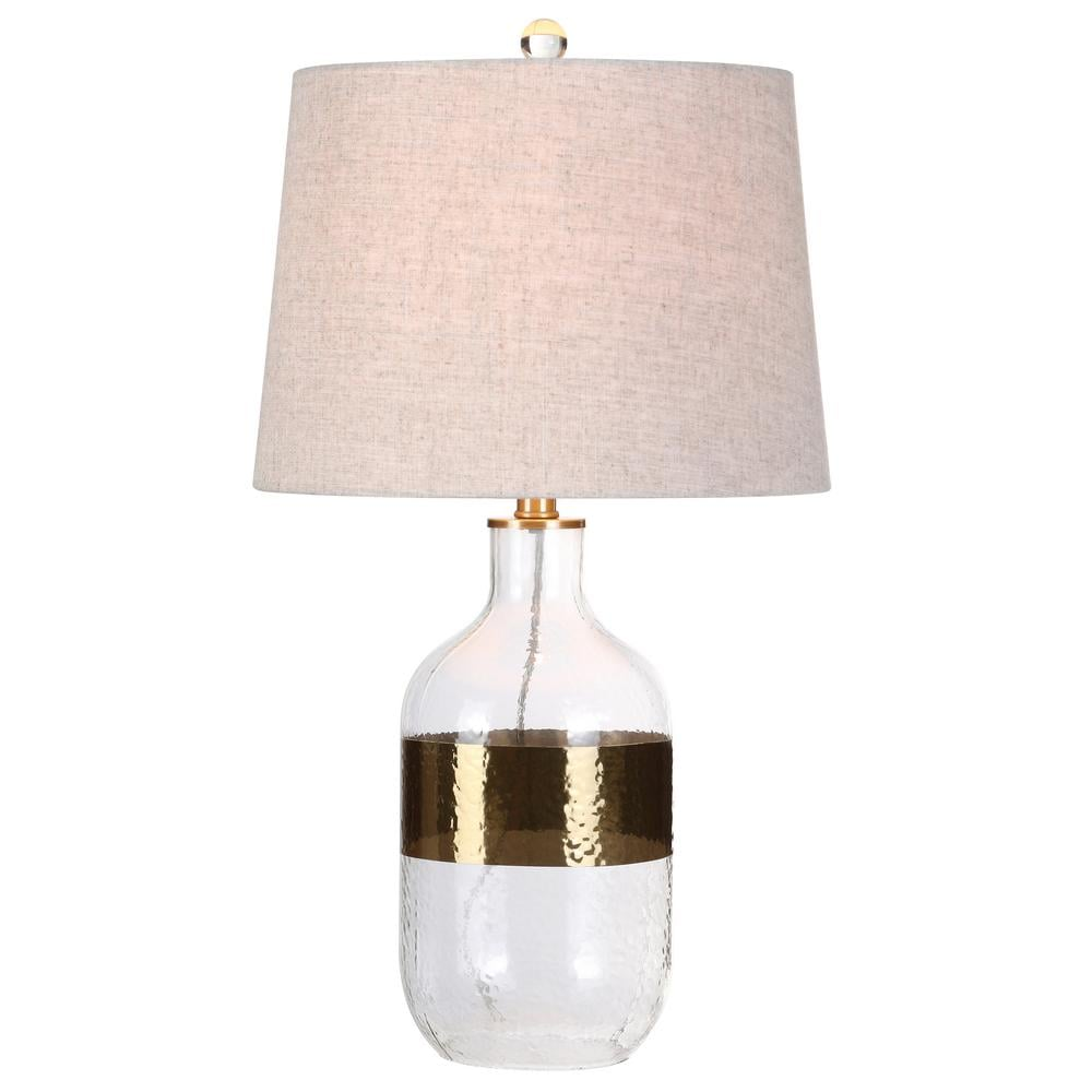 Jonathan Y Stevens 25.5 in. H Clear/Brass Glass Table Lamp