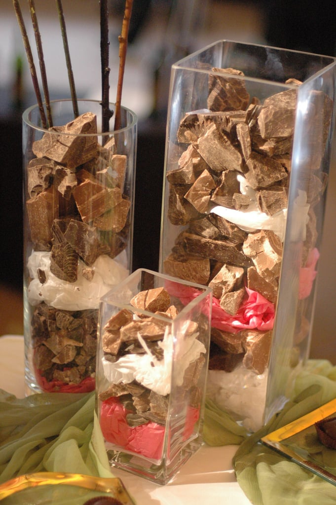 Chocolate used as vase filler