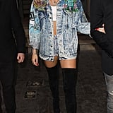 In true Miley style, the star made the denim-on-denim trend all her own with a patchwork Tony Alamo jacket; short shorts; and suede, over-the-knee boots by Christian Louboutin.
