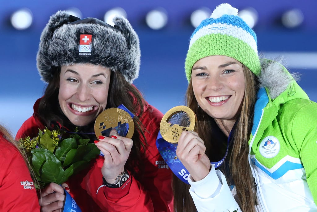 And they posed with their golds during the medal ceremony.