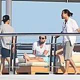 Leo and his pals lounged on the luxury yacht on Tuesday.