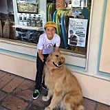 "Jayden got cute with a dog in June 2015. Britney wrote in the caption, ""Great Malibu dogs!"""