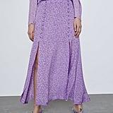 Zara Printed Skirt With Slits