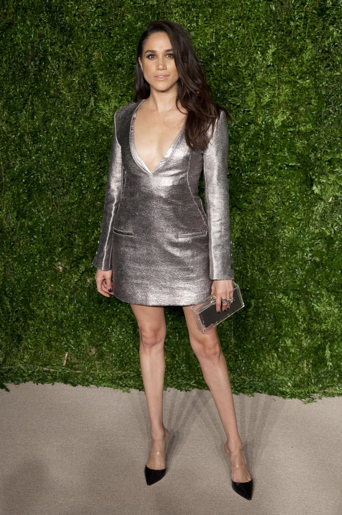 In November 2015, Meghan rocked one of her favorite designers, Misha Nonoo, for the 12th Annual CFDA/Vogue Fashion Fund Awards. The metallic dress was paired with a box clutch and simple black heels.