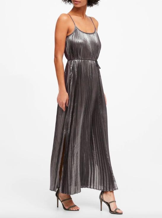 Petite Metallic Pleated Maxi Dress