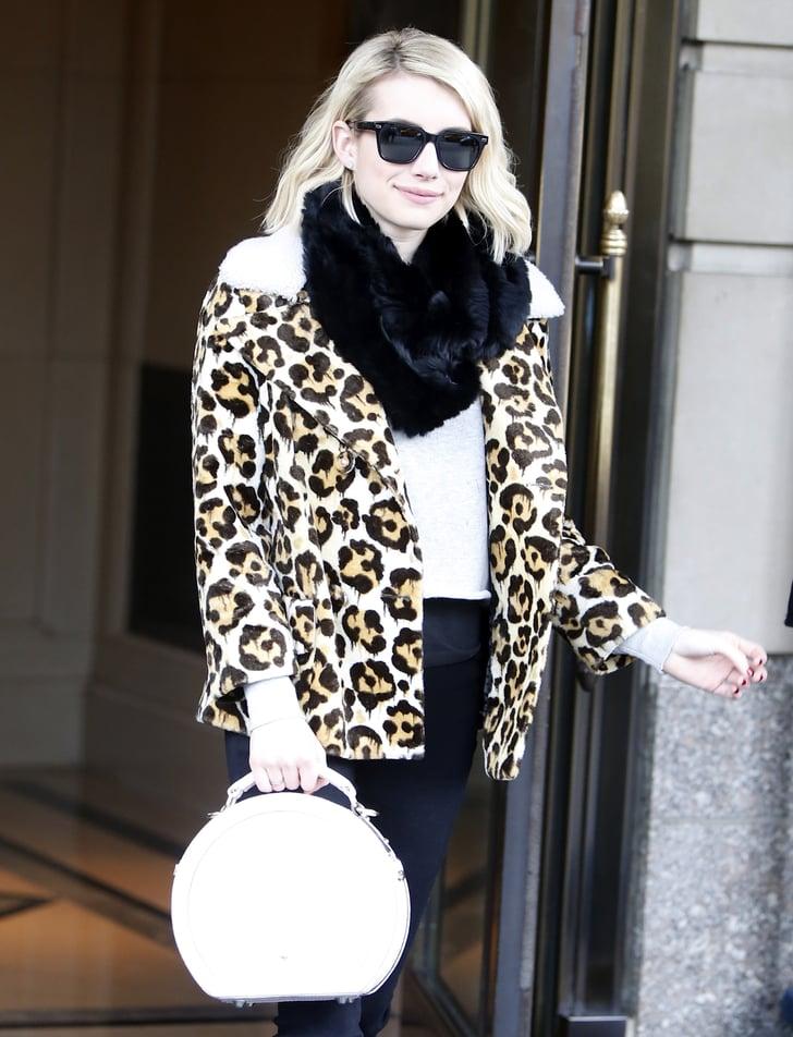 Emma Roberts Wearing A Leopard Coat Popsugar Fashion