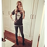 Kristin Cavallari showed off her growing baby bump in a gray t-shirt. Source: Instagram user kristincavallari