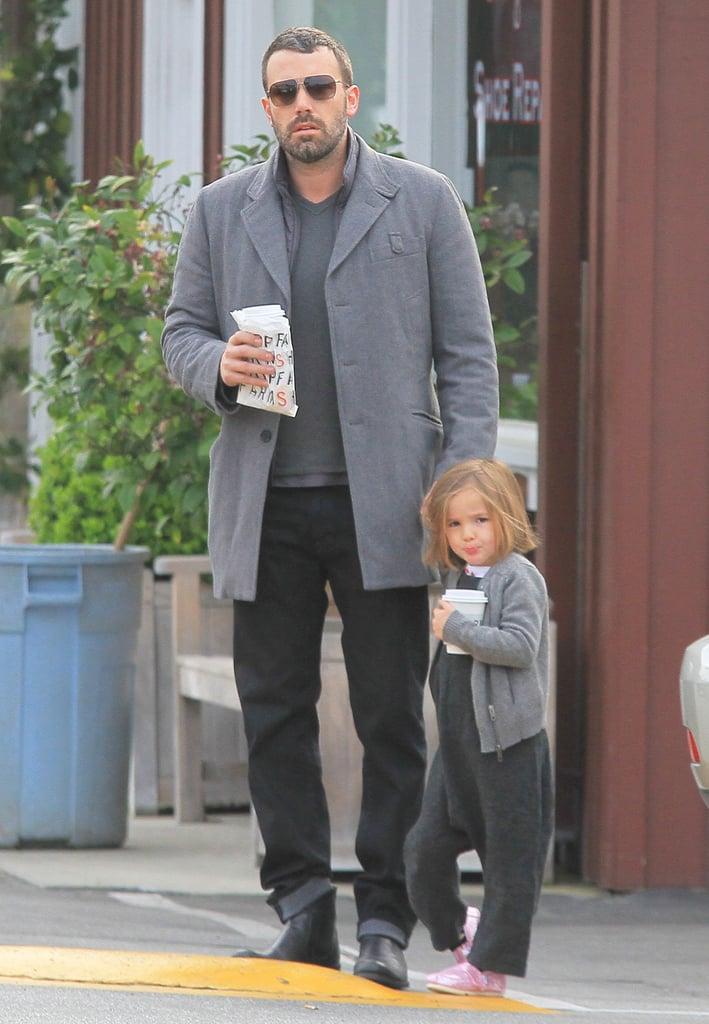 Ben Affleck and Seraphina Affleck grabbed coffee in LA together while both wearing gray ensembles in March 2013.