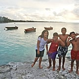 These children in Tuvalu, a Polynesian island between Hawaii and Australia, invited Garfors to go swimming with them. Garfors says Tuvalu will be the first country to disappear if ocean levels continue to increase.