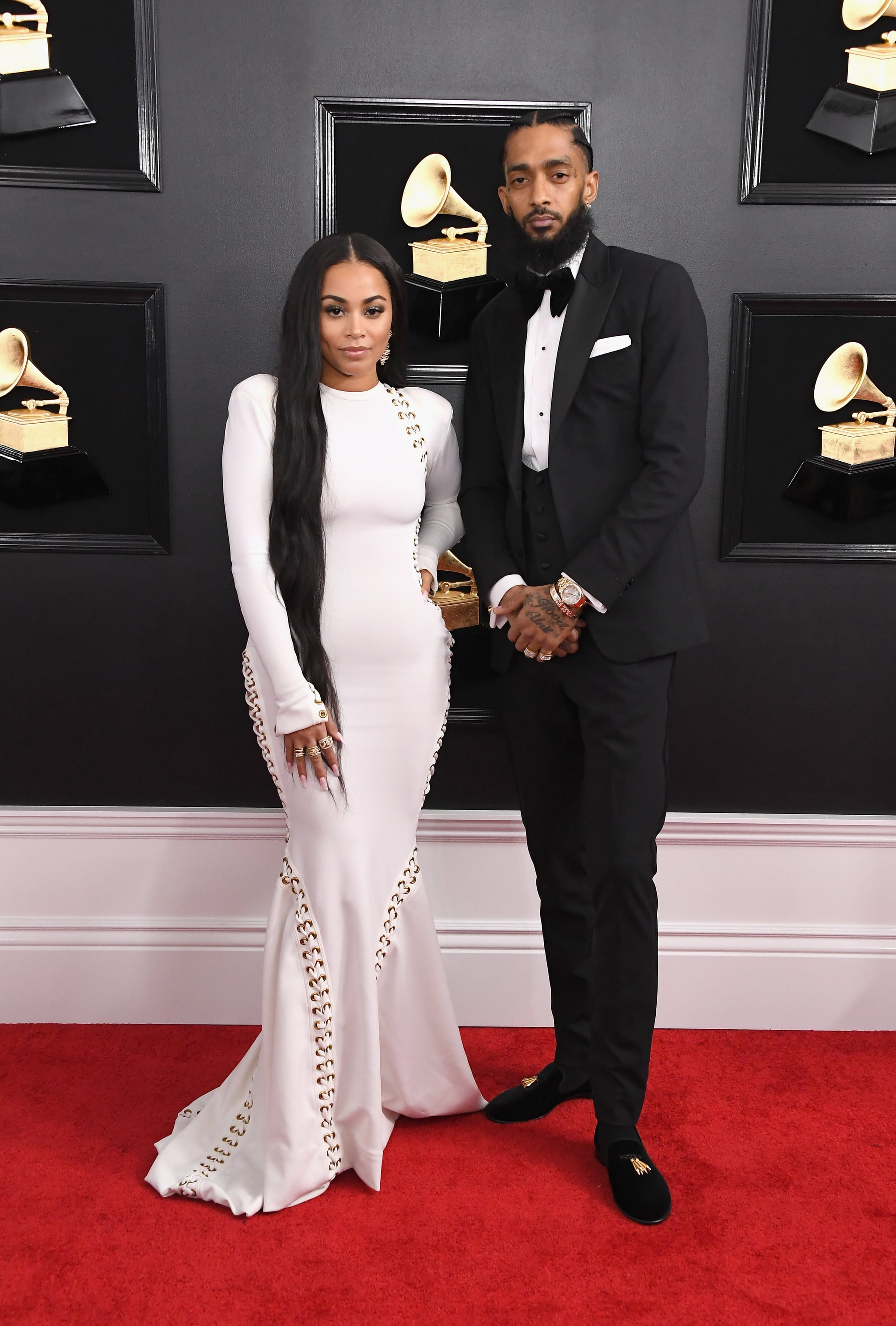 LOS ANGELES, CA - FEBRUARY 10:  Lauren London (L) and Nipsey Hussle attend the 61st Annual GRAMMY Awards at Staples Center on February 10, 2019 in Los Angeles, California.  (Photo by Steve Granitz/WireImage)