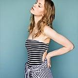Zara Strapless Striped Swimsuit ($36)