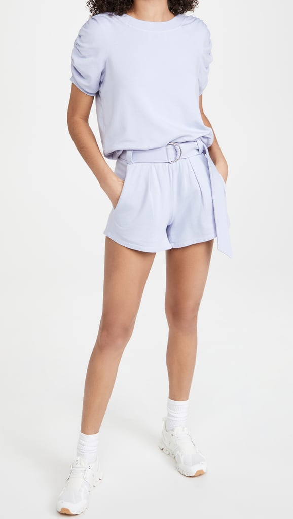 The Elevated Sweat Set: Heroine Sport Ruched Sweat Tee and Pleated Shorts