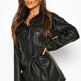 Boohoo Petite Faux Leather Belted Longline Shirt Jacket