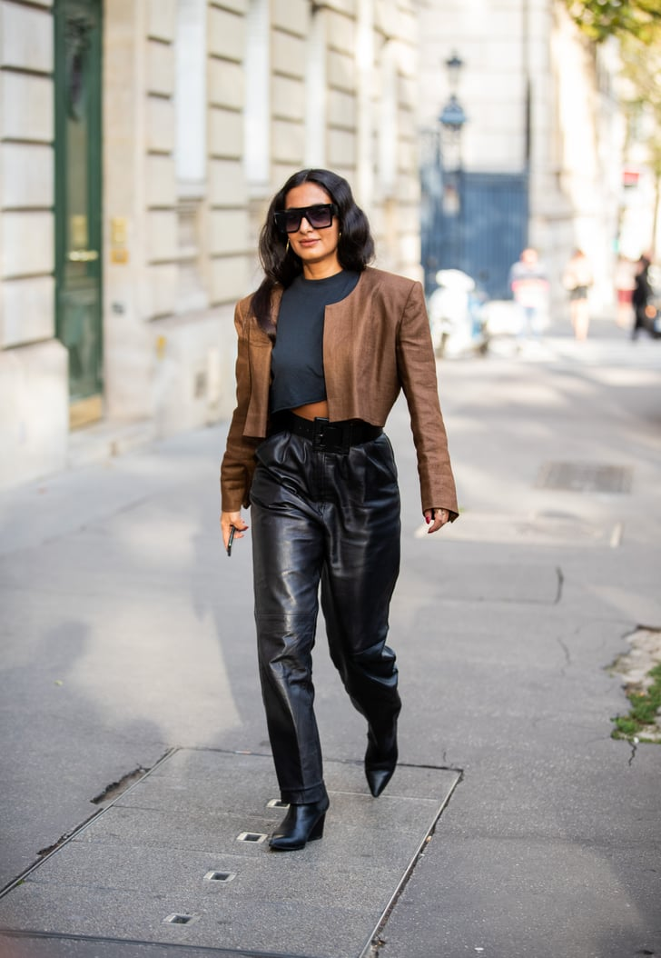leather pants outfit idea leather jacket  crop top  how