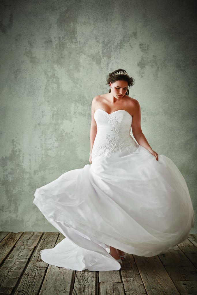 David's Bridal Strapless Tulle Ball Gown With Lace Applique ($749)