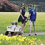 Princess Mary and Prince Frederik pulled twins Prince Vincent and Princess Josephine around in a cart during the Danish royal family's annual Summer photo call at Grasten Castle in Denmark in July 2013.