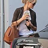 Cameron Diaz pulled her hair into a ponytail and wore shades.