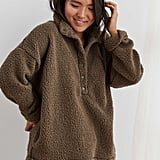 Aerie Cloud Sherpa Oversized Pullover in Hut