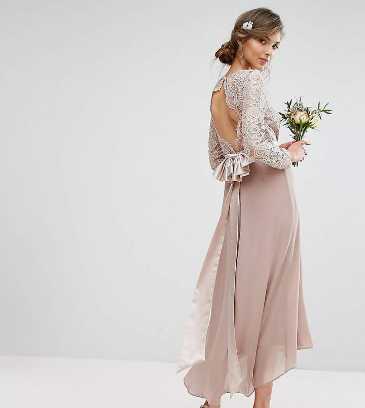 1e0fe02a926 Tfnc Tall Wedding Lace Midi Dress With Bow Back