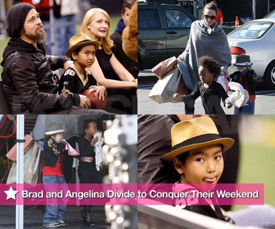 Brad Pitt and Maddox at the Saints Game, Angelina Jolie in LA With Zahara and Shiloh