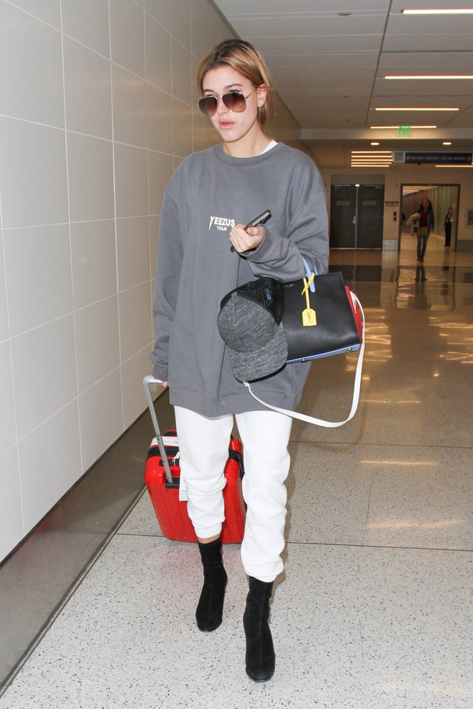 Hailey Baldwin Carrying a Saint Laurent Small Rive Gauche Colorblock Satchel