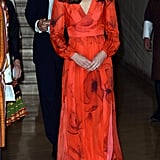 During her trip to Bhutan, Kate chose ethical label Beulah London to design her custom vibrant diaphanous gown, featuring the country's national flower, the poppy.