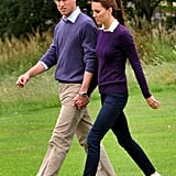 Kate Middleton and Prince William took a stroll together in Holyrood Park in Scotland in August 2011.