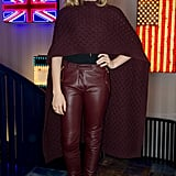 Chloe Mortez furthers the color effect with a pair of burgundy-hued leather pants.
