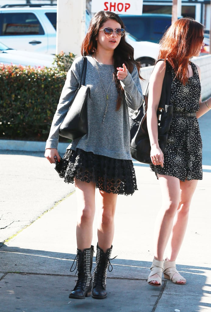 Selena Gomez and Lily Collins went to Sushi Dan for lunch.