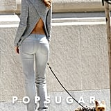 Miranda Kerr wore a cutout top while on a photo shoot with her dog, Frankie.