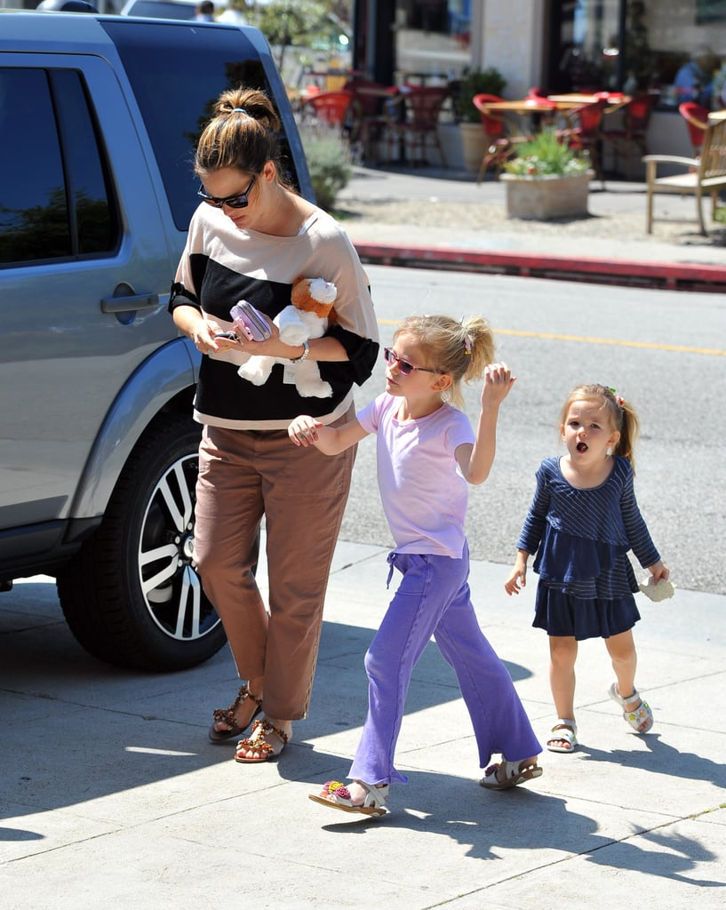 Jennifer Garner stopped by an LA nail salon with her daughters, Violet and Seraphina, this afternoon. It was a girls-only outing, with dad Ben Affleck and little brother Samuel skipping the spa trip. The family of five wasn't seen celebrating Easter like many other famous bunches, but they have been out and about since welcoming baby Samuel in February. Ben and Jen held hands during a stroll, and Jen took Seraphina to a play date last week. There's more fun in store since Jen's 40th birthday is on April 17, just ahead of Samuel's two-month mark.