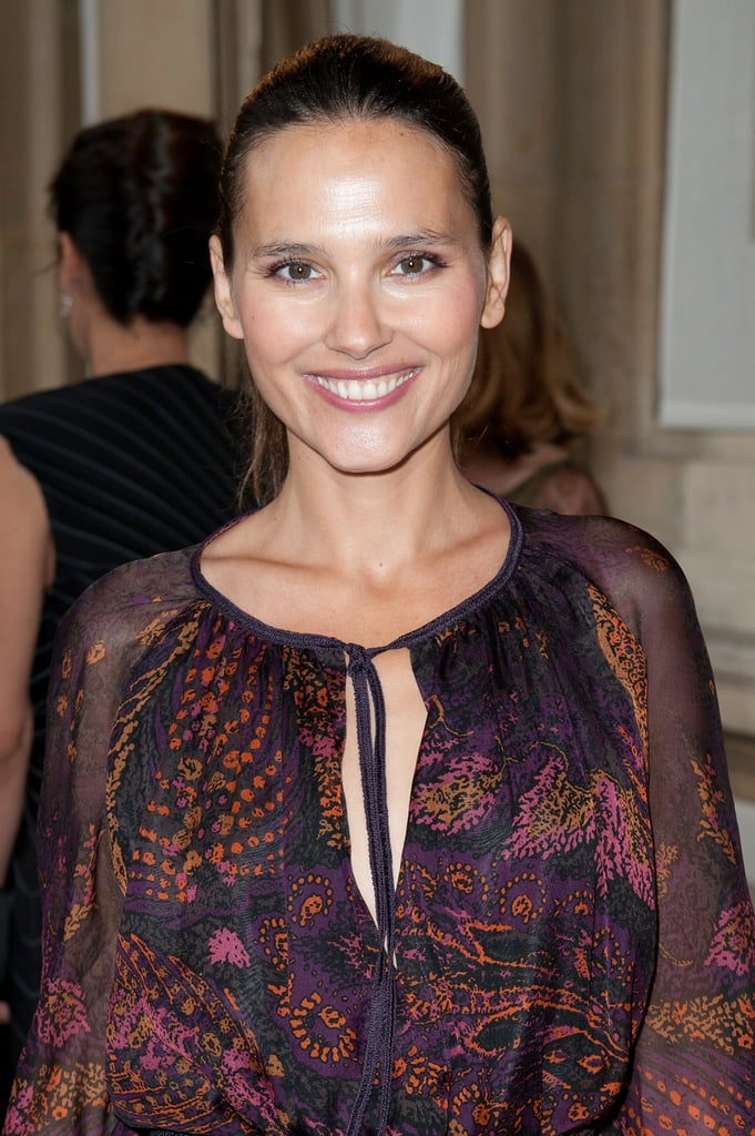 virginie ledoyen looked happy to attend the salvatore ferragamo ferragamo fashion show paris. Black Bedroom Furniture Sets. Home Design Ideas