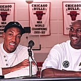 Michael Jordan and Scottie Pippen During a Press Conference in 1995