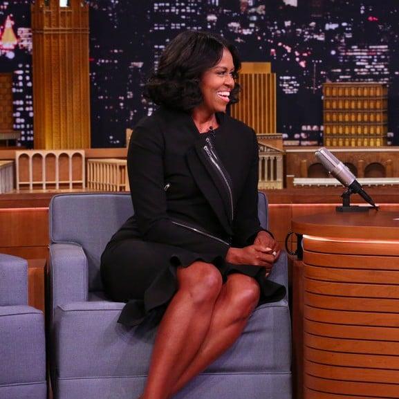 Michelle Obama Black Dress On Jimmy Fallon 2017 Popsugar Fashion