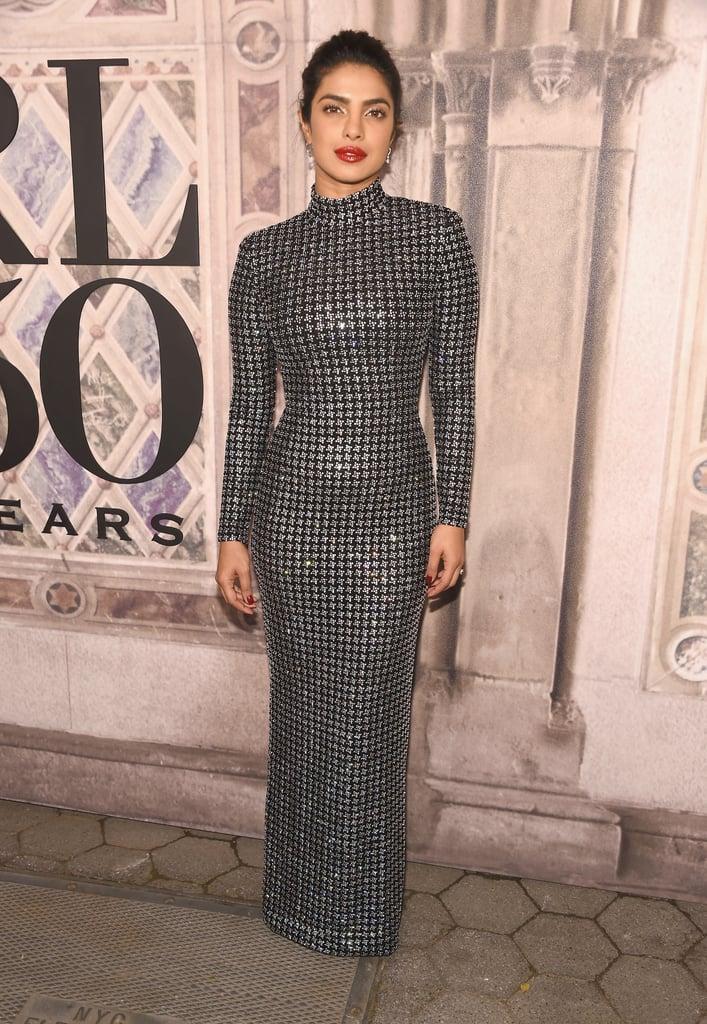 Priyanka Chopra's Black Dress With Nick Jonas Fashion Week