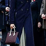 ‎Meghan Markle Carrying a Strathberry Midi Tote Bag in Tricolour