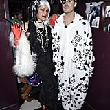 Mia Swier and Darren Criss as Cruella de Vil and a Dalmatian