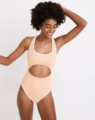 Madewell Second Wave Ribbed Racerback Cutout One-Piece Swimsuit