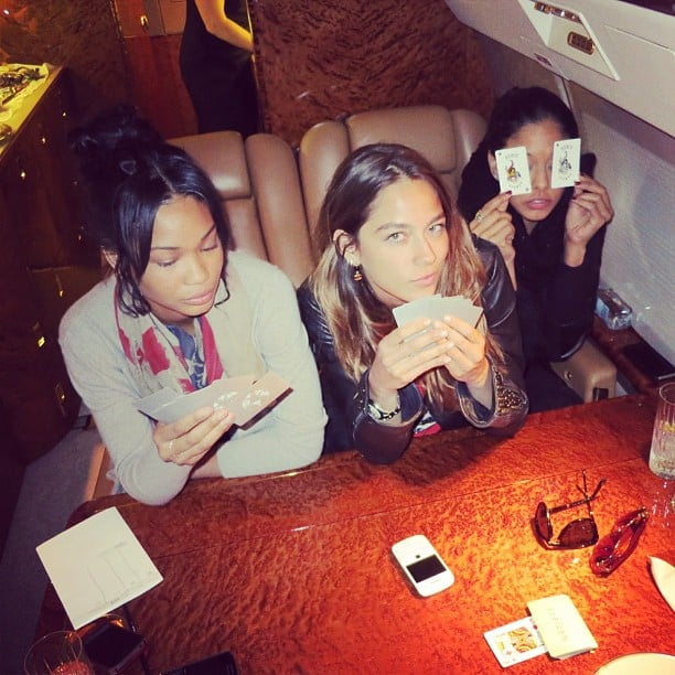 Chanel Iman played a game of gin rummy with friends. Source: Instagram user chanelimanxoxo