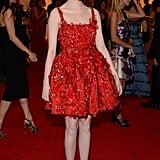 Emma Stone posed in her red Lanvin.