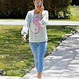 A Graphic Sweatshirt and Sky Leggings