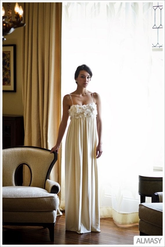 This romantic dress from Etsy designer Morgan Boszilkov has a hemp/silk charmeuse bust and a bamboo and organic cotton jersey skirt. Perfect for an outdoor or daytime wedding. ($1,300)