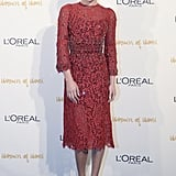Wow, Lea Michele looks just as sexy covered up as she does in her sultrier styles. It didn't hurt that she was covered in Dolce & Gabbana's red lace when she walked the carpet at L'Oréal Paris's Women of Worth event.