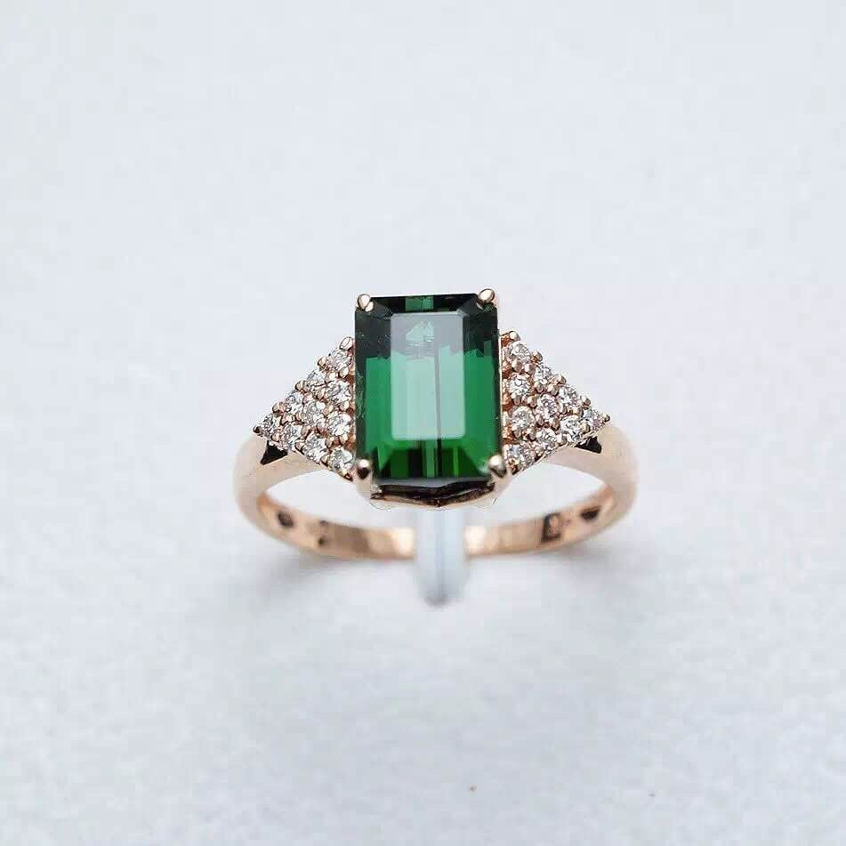 platinum tourmaline green ring rings engagement diamond